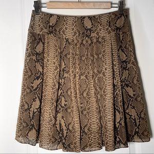 Vince Camuto Snakeskin Animal Print Pleated Skirt